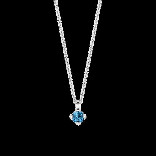 3926DB Ti Sento zilveren collier met blauwe steen