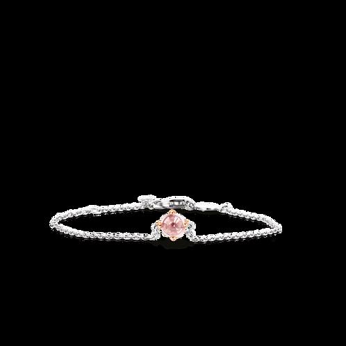 2912NU Ti Sento zilveren armband roségoud verguld roze crystal