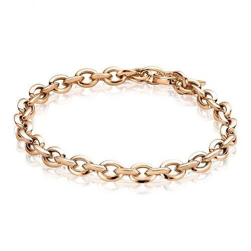 ZIA1614R ZINZI zilveren armband roségoud vergulde fantasie ovale schakels 18,5cm