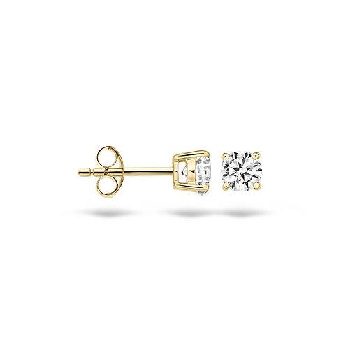 7127YZI Blush oorstekers geelgoud zirconia 4mm