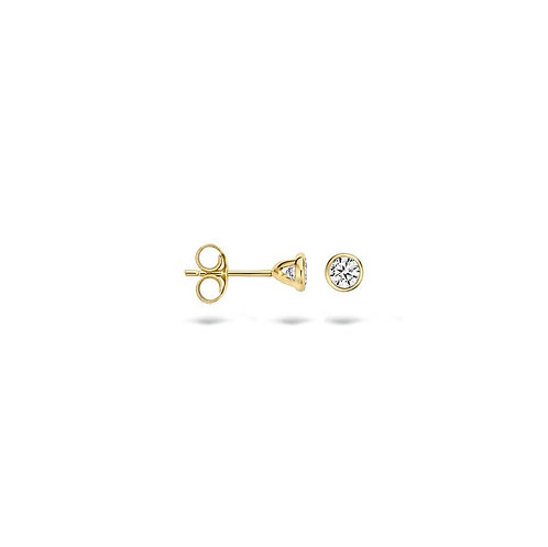 7256YZI Blush oorstekers geelgoud zirconia 3.8mm