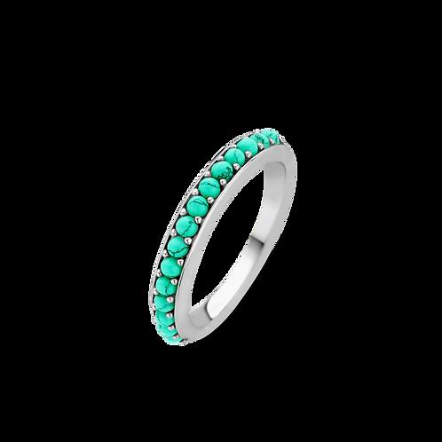 12123TQ Ti Sento zilveren ring met turquoise stenen