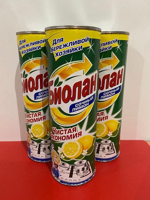 БИОЛАН чистящий порошок. Сочный лимон. 400 г.