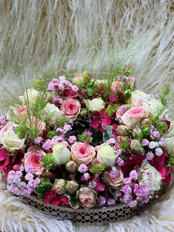 Tischdeko sommerlicher Blütenkranz