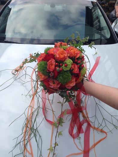 Rot/Orange Brautstrauß