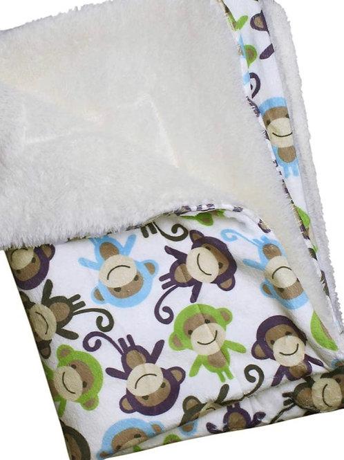 """Ultra Soft Minky Plush Double Lined Fleece Comfort Blanket 30"""" x 20"""" Monkeys"""
