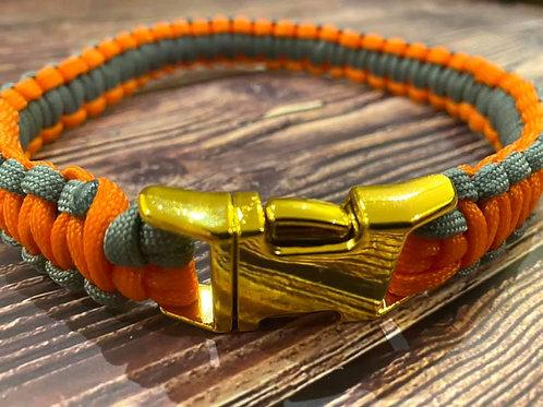 Handmade Paracord Collar Grey and Orange 43cm Size