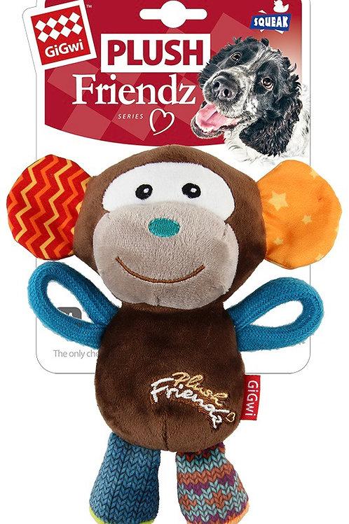 Gigwi Plush Friendz Dog Toy Monkey Squeak Small/ Medium 15cm