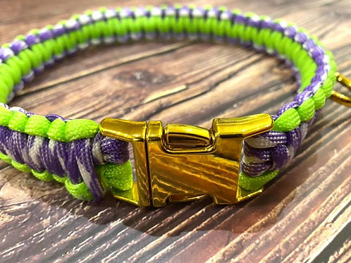 Handmade Paracord Collar Lime, Purple and White 37cm Size