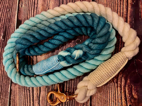 Handmade Ombre Luxury Rope Lead Teal 110cm