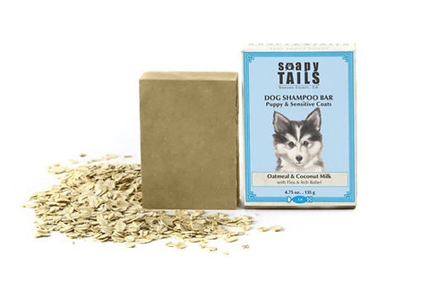 Soapy Tails Dog Shampoo Bar - Unscented Oatmeal & Coconut Milk- Fine Puppy & Sen