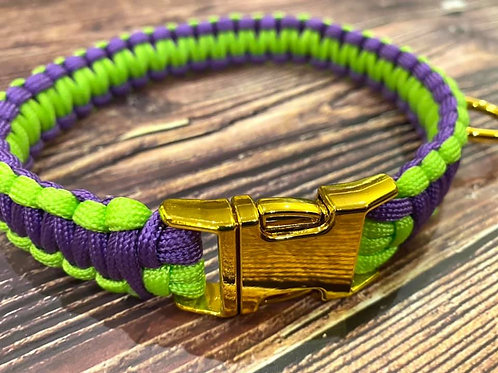 Handmade Paracord Collar Lime and Purple 39cm Size