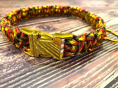 Handmade Paracord Collar Black, Yellow and Red 44cm Size
