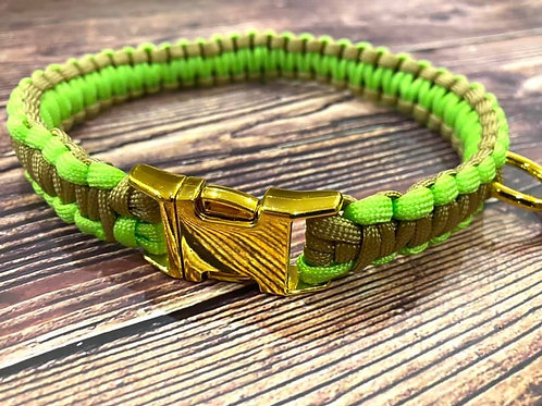 Handmade Paracord Collar Lime and Beige 42cm Size