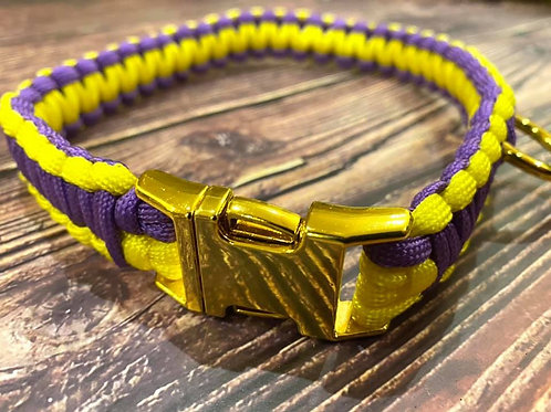 Handmade Paracord Collar Purple and Yellow 39cm Size