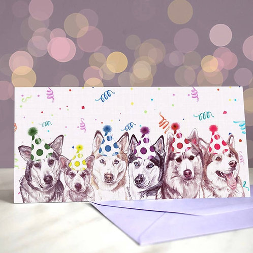 'Another one bites the husk' Siberian Husky Greetings Card