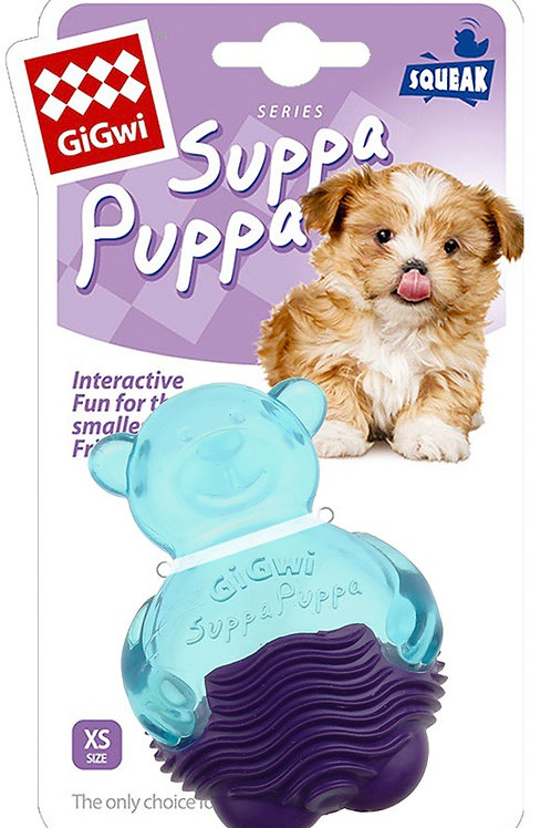 Gigwi Suppa Puppa Squeaky Chew Bear Toy XS Small Breeds and Small Puppies