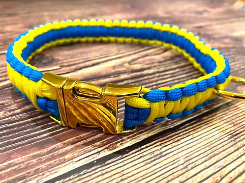 Handmade Paracord Collar Blue and Yellow 36cm Size