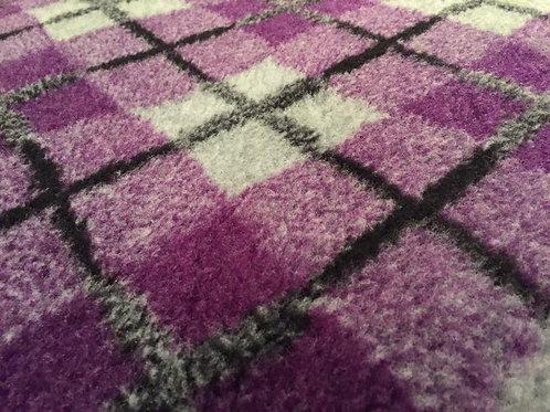 Vet Bedding Non Slip Purple Grey Diamond Tartan