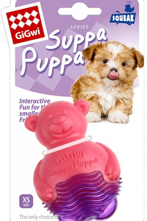 Gigwi Suppa Puppa Squeaky Chew Hippo Toy XS Small Breeds and Small Puppies