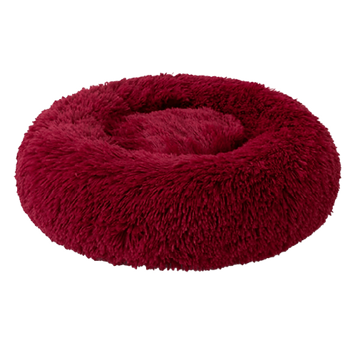 Plush Cosy Donut Pet Bed 80cm Burgundy Red Machine Washable