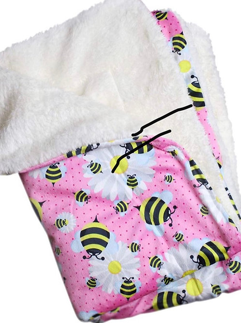 """Ultra Soft Minky Plush Double Lined Fleece Comfort Blanket 30"""" x 20"""" Bumblebee"""