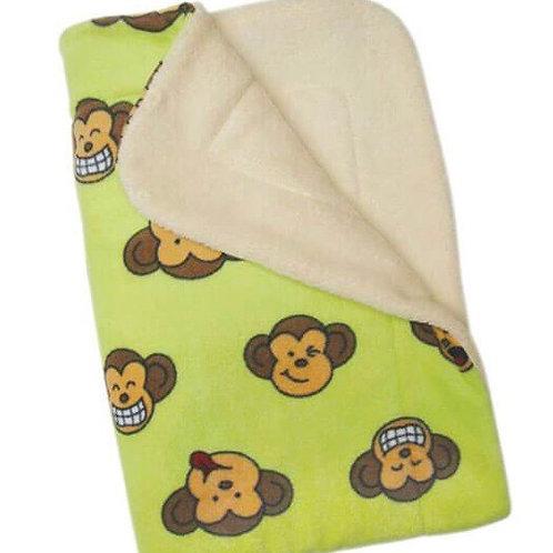 "Ultra Soft Minky Plush Double Lined Fleece Comfort Blanket 30"" x 20"" Monkey"