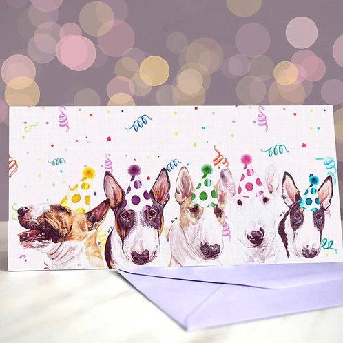 Bull Terrier 'We Bull-T This City on Rock N Roll?  Greetings Card