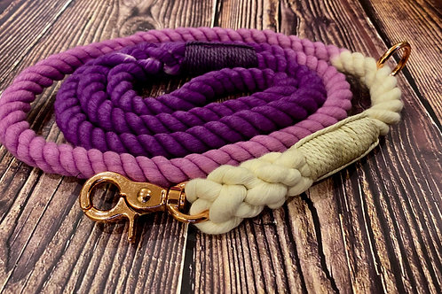 Handmade Ombre Luxury Rope Lead Purple 150cm