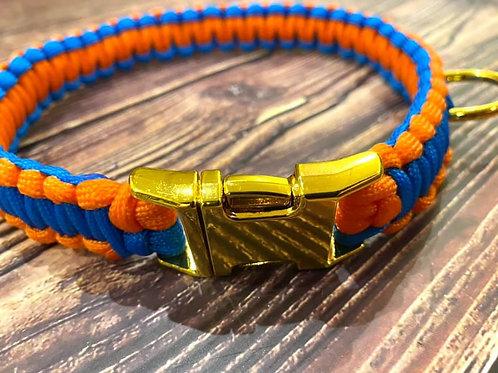 Handmade Paracord Collar Blue and Orange 43cm Size