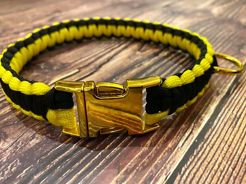 Handmade Paracord Collar Black and Yellow 42.5cm Size