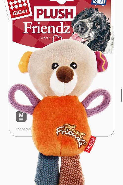 Gigwi Plush Friendz Dog Toy Bear Squeak Small/ Medium 15cm