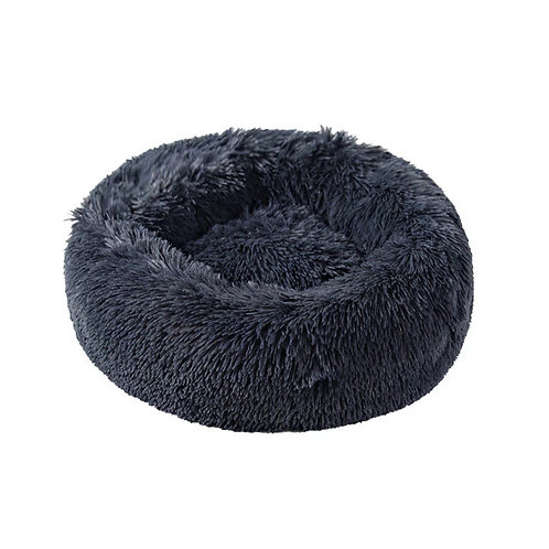 Plush Cosy Donut Pet Bed Charcoal Grey Machine Washable