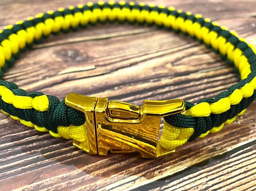 Handmade Paracord Collar Green and Yellow 48cm Size