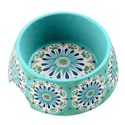 "Medallion Turquoise Pet Collection M/L Melamine Non Slip Bowl 7.1"""