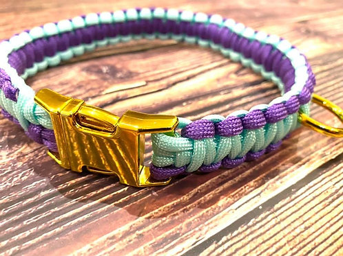 Handmade Paracord Collar Light Blue and Purple 40cm Size