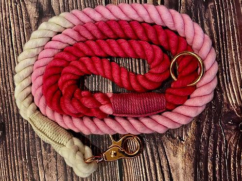 Handmade Ombre Luxury Rope Lead Pink 110cm