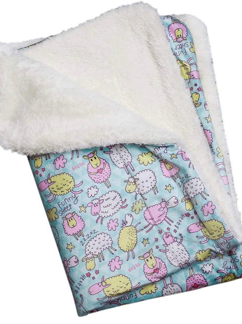 "Ultra Soft Minky Plush Double Lined Fleece Comfort Blanket 30"" x 20"" Funny Sheep"