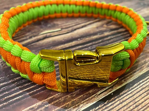 Handmade Paracord Collar Lime and Orange 36cm Size