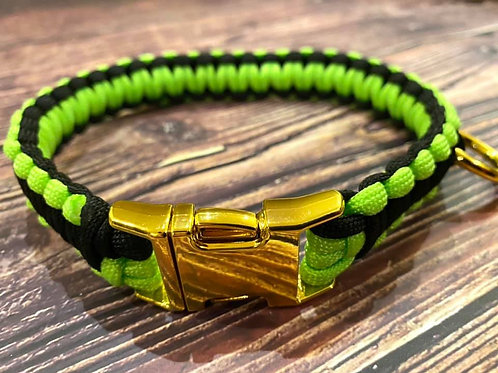 Handmade Paracord Collar Black and Lime 41cm Size