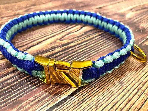 Handmade Paracord Collar Light Blue and Navy 52cm Size