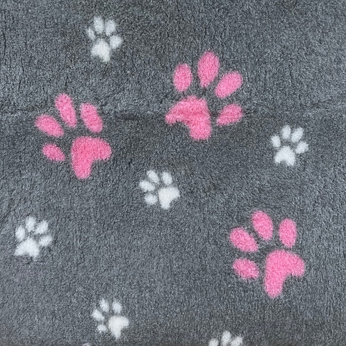 Vet Bedding Non Slip Grey Pink and White Paw
