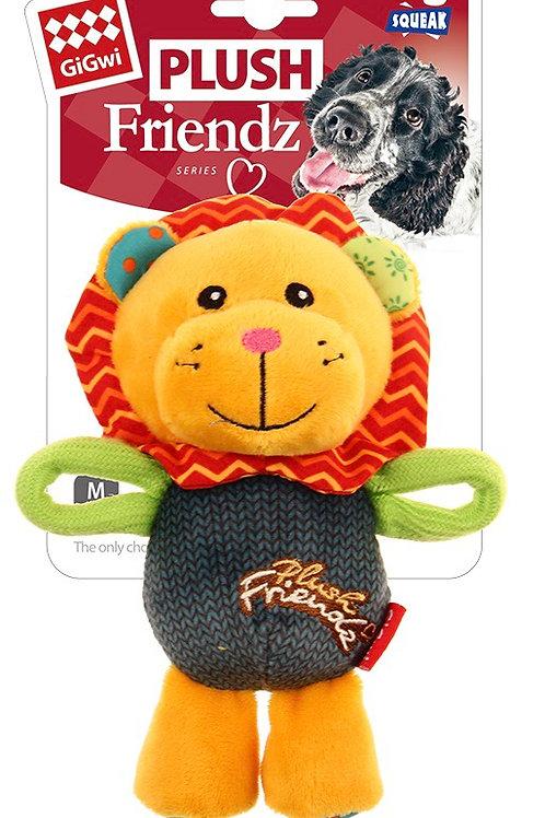 Gigwi Plush Friendz Dog Toy Lion Squeak Small/ Medium 15cm