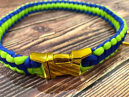 Handmade Paracord Collar Blue and Lime 51cm Size