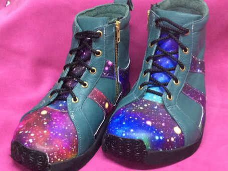Galaxy and teal leather boots