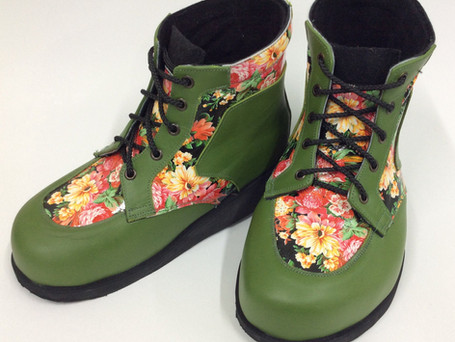 Green and floral leather boots