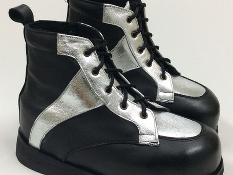 Silver and black leather contrast boots