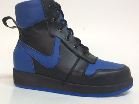 Blue and black leather boots