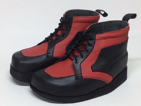 Red and black leather boots