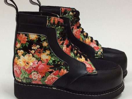 Floral and black leather contrast boots
